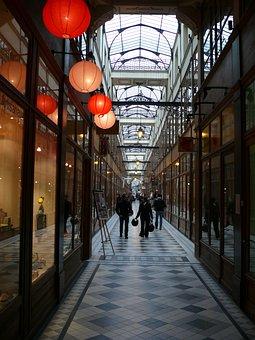Trade, Paris, Gallery, Light, Evening, Architecture