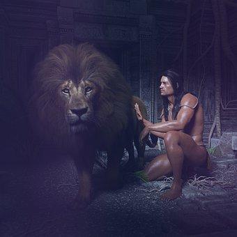 Tarzan, Lion, Ruin, Jungle, Big Game, Human, Nature