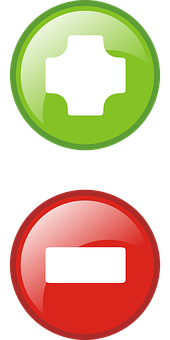 Plus, Minus, Icons, Symbols, Red, Button, Green, Add