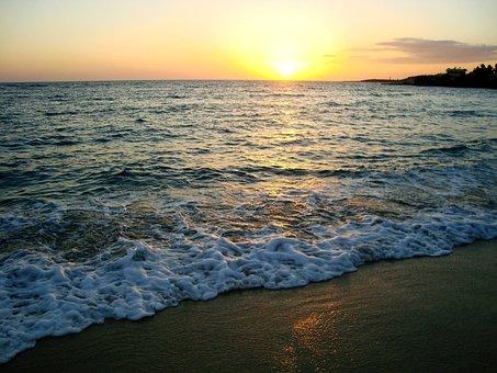 Beach, Sunrise, Sea, Sky, Sand