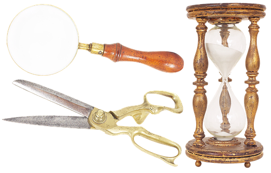 Magnifier, Scissors, Hourglass, Antiques, Sand, Time