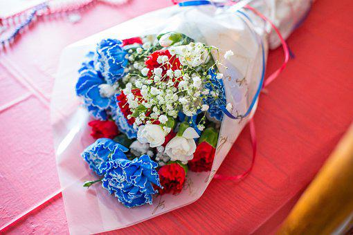 Flowers, Bouquet, Red, White, Blue, Patriotic