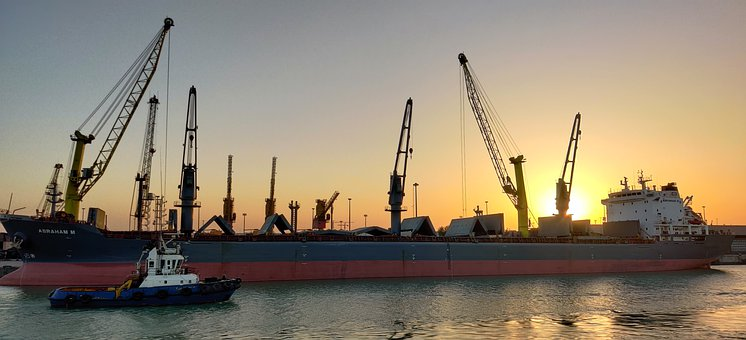 M V Abraham M, Sun Rise, Port, Sun Set, Tug Boat, Crane