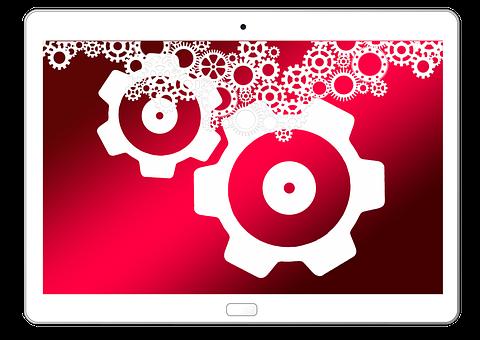 Tablet, Technology, Gears, Work, Team