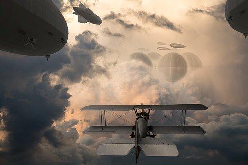 Sky City, Zeppelins, Airplane, Propeller, Pilot