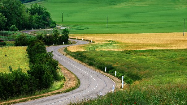 Road, Curves, Bend, Asphalt, Countryside, Fields, Turns