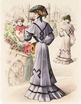Ladies, Vintage, Fashion, Women, Flowers, Flower Cart