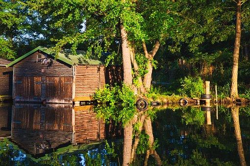 Channel, Mirror Image, Forest, Nature, Pier, Mirror