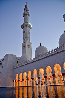 Twilight, Uae, Done, Mosque, Reflection, Architecture