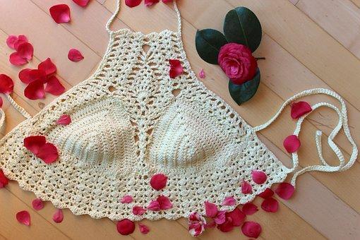 Crochet, Crochet Top, Decorated Top, Crochet Halter Top