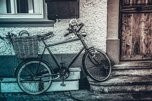 Bike, Street, City, Vintage, Urban, Shopping, Building