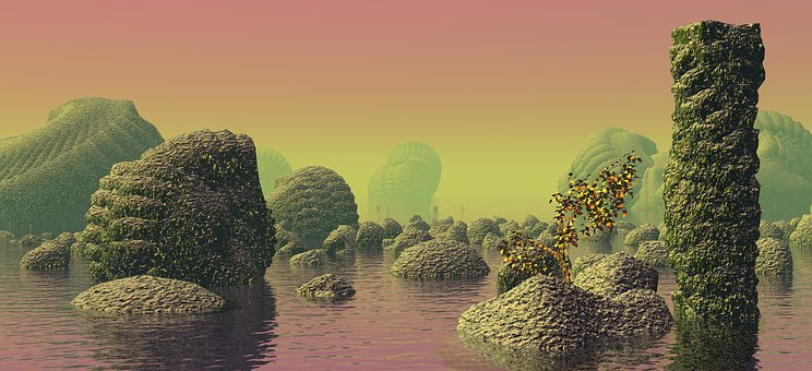 Planet, Water, Sea, Landscape, Space, Fantasy, 3d, Pink