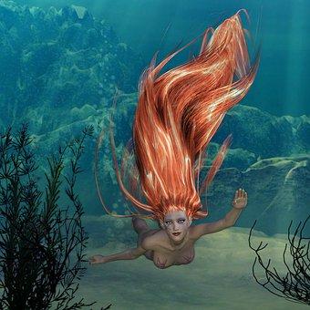 Underwater, Nymph, Creature, Fantasy