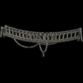 Bridge, Ropes, Lanterns, Swing, Water, Sway, Sky