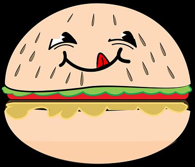Hamburger, Smile, Cartoon, Food, Happy