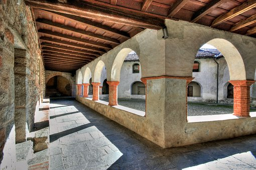 Cloister, Monastery, Convent, Italy, Lombardy, Columns