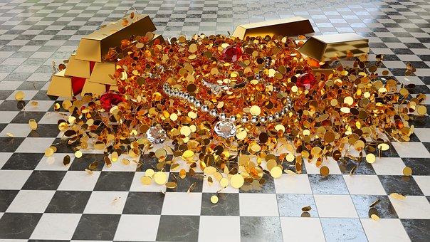 Treasure, Gold, Coin, Gems, Ring, Bullion, Assets, 3d