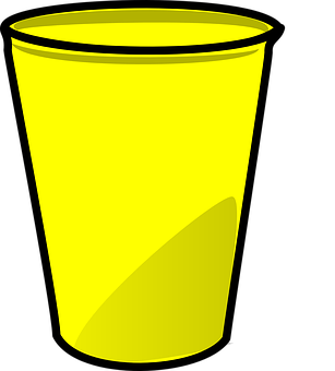 Cup, Plastic, Paper, Yellow, Isolated, Disposable