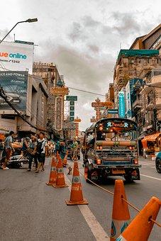 Chinatown, Chinese City, Bangkok, Asia, Road, Tuktuk