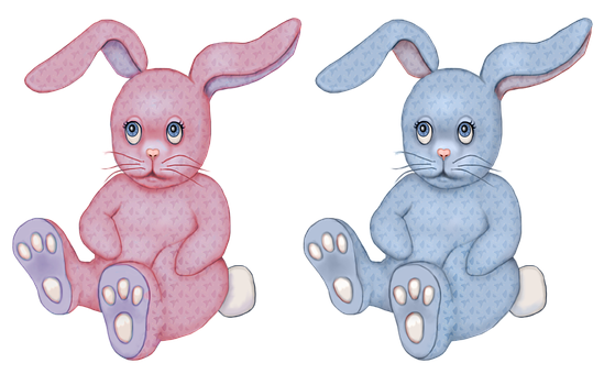 Toy, Bunny, Rabbit, Stuffed Toy, Pink, Blue, Graphic