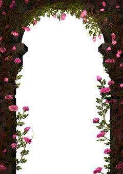 Passage, Arch, Roses, Fantasy, Archway, Isolated