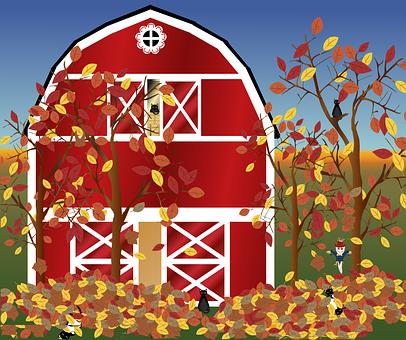 Graphic, Fall, Farm, Autumn, Harvest, Barn