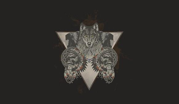 Indians, Wolf, Skull