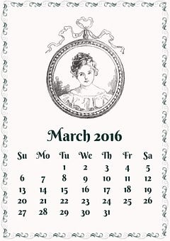 March 2016, March, 2016, Calendar, Month, Vintage