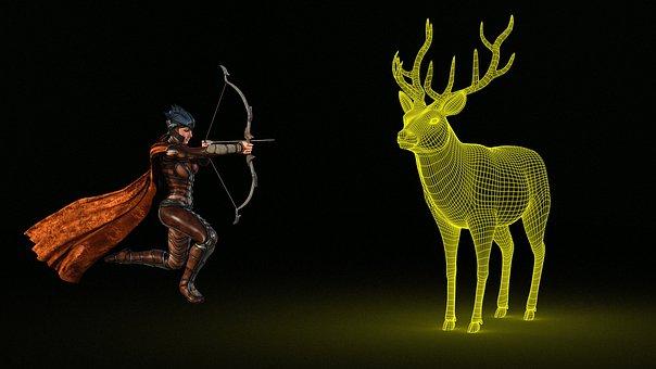 Fantasy, Deer, Archer, Animals, Skinny, Photomontage