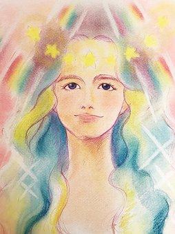 Angel, Goddess, Pastel, Art, Women