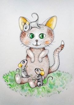 Cat, Mouse, Children's Fairy Tale, Tales, Children