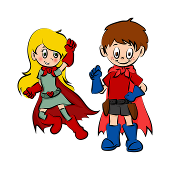 Drawing, Super Heroes, Super Heroine, Color, Colorful
