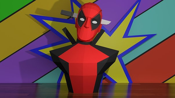 Deadpool, Papercraft, Character, Red, Masked, Hero