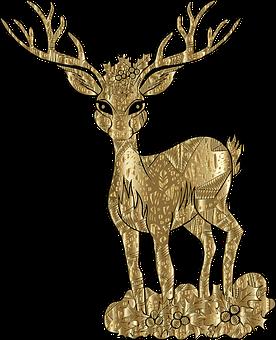 Deer, Christmas, Gold, Line Art, Animal, Decorative