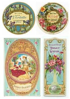 Labels, Vintage, Toiletries, Soap, Romantic, Floral