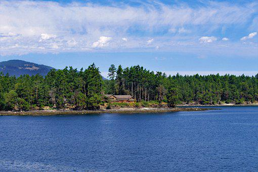 Island, Home, Ocean, Landscape, House, Clouds, Vacation