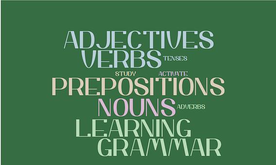 Language, Learning, Grammar Word Cloud, Verbs