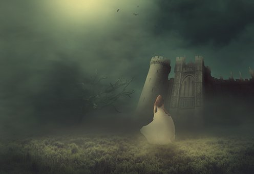 Fantasy, Castle, Fog, Princess, Meadow, Bride, Tree