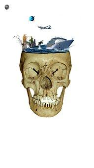 Matte Painting, Skull, Sea, Brain, Substitution