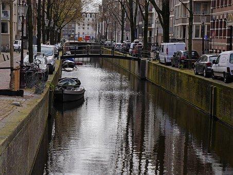 Canal, Water, Reflections, Reflecting, City, Bridge