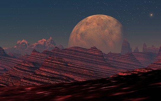 Digitale Kunst, Roter Planet, Landschaft, Fantastisch