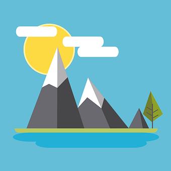 Mountain, Flat Design, Design, Nature, Landscape