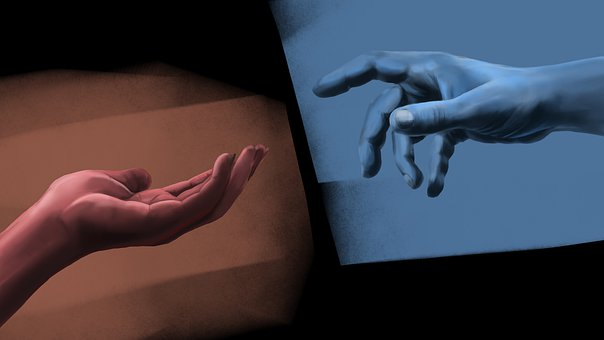 Hands, Hand, Monochromatic, Blue, Red, Emotions