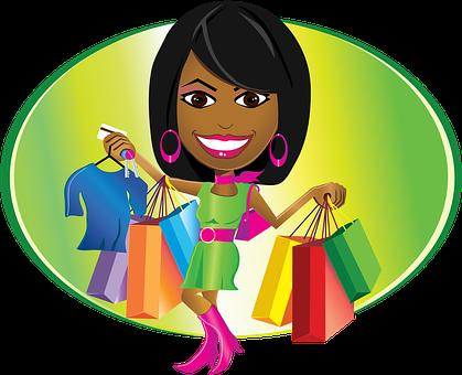 African American, Lady, Woman, Shopping, Bags, Aka