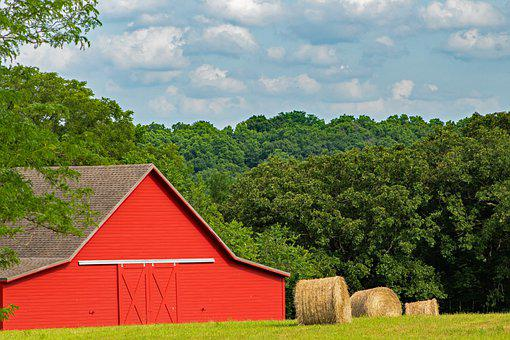 Barn, Hay, Farm, Rural, Straw, Ranch, Red