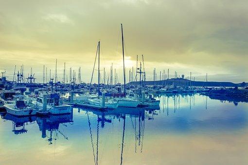 Half Moon Bay, Yacht, Harbor, Dock, Sailboat, Boat