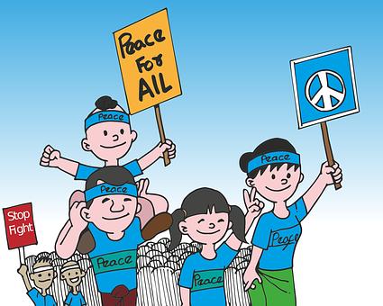 Protest, Peace, Cartoon, Burma, Demonstration, Walk