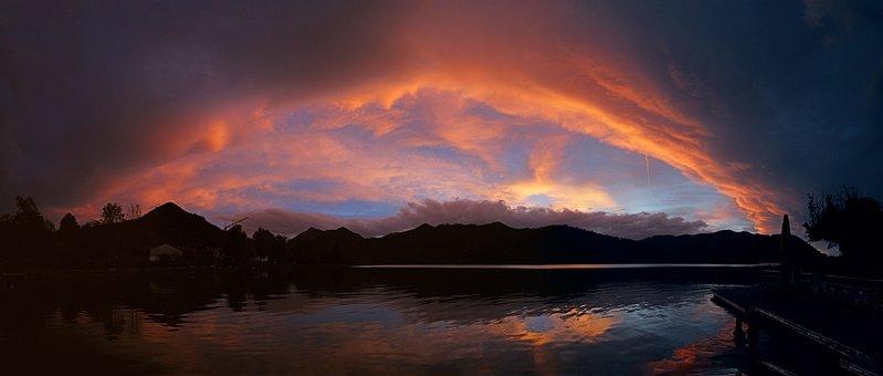 Sunset, Lake, Water, Panorama, Abendstimmung, Nature