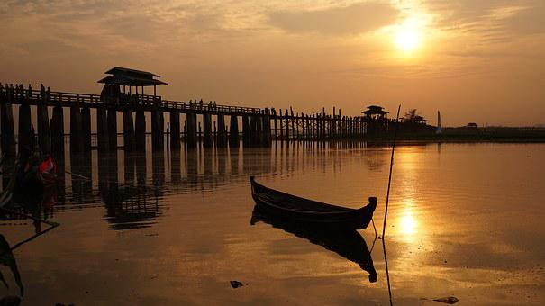Ubein Bridge, Air Balloon, Myanmar, Burma, Land