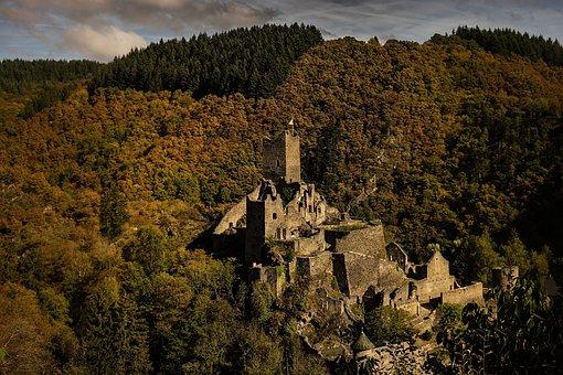 Castle, Landscape, Autumn, Middle Ages, Forest, Nature
